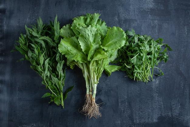 Летом зелень на темном столе. летняя еда плакат или баннер концепции. вид сверху плоской планировки. скопируйте пространство для дизайна. эко, зеленый, концепция органических продуктов питания. салат, мята и руккола