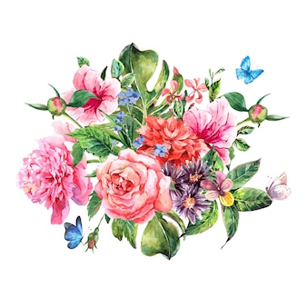 Summer hand drawing watercolor floral