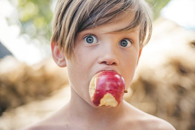 村のそよ風に乗って夏の幸せな子供と喜びの少年。アウトドアホリデーと自然食品のコンセプト。農場での休暇。楽しむ時間。