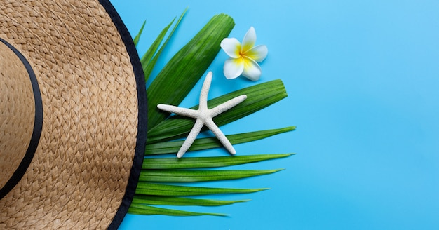 Summer hat with starfish and plumeria or frangipani flower on tropical palm leaves on blue background. enjoy summer holiday concept.