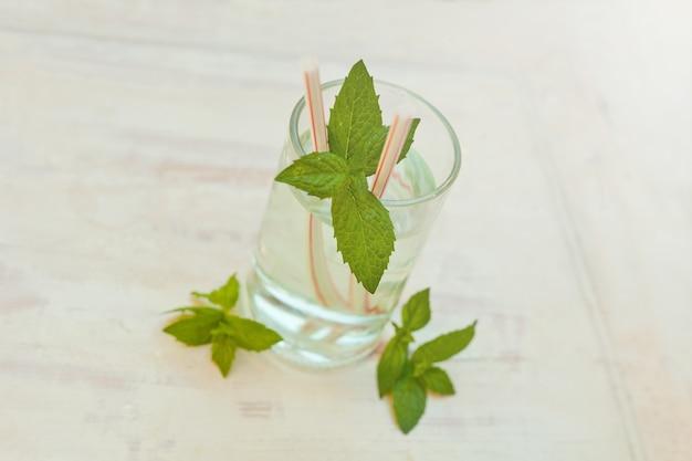 여름에 건강한 홈메이드 레모네이드 물 음료 민트 잎을 회색으로 마감한 모히토 칵테일