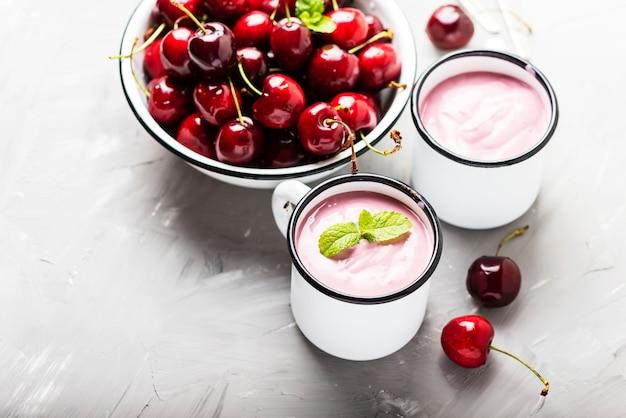 Summer healthy yogurt with cherry