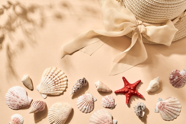 Summer holiday background. imitation of beach sand withseashell, starfish and womens hat