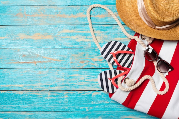 Summer holiday background with beach items