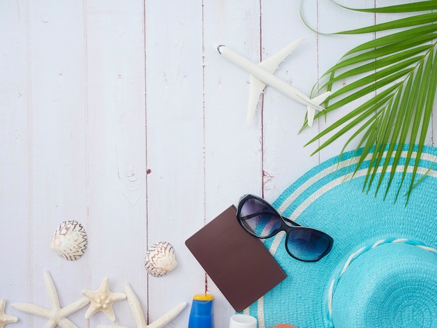 Summer holiday composition with travel elements, top view