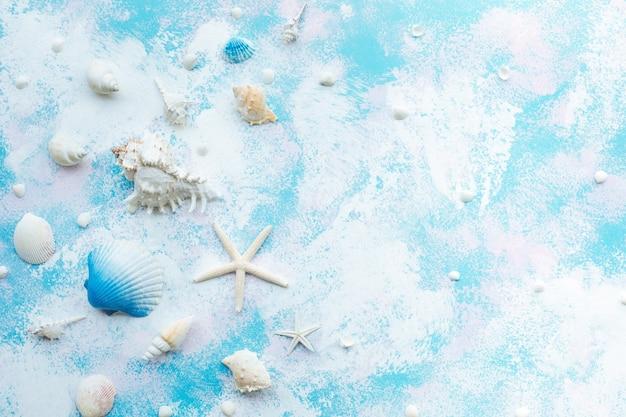 貝殻ヒトデと抽象的なスタイルの背景のビーチの装飾と夏の休日の概念。トップビューの角度。