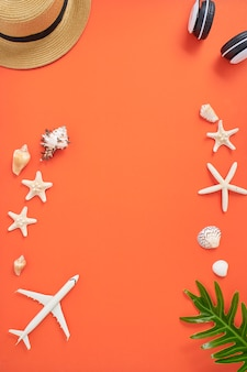 Summer holiday vacation concept orange background