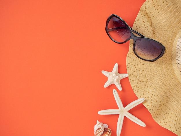 Summer holiday vacation concept orange background