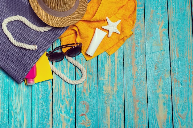 Summer holiday with beach items