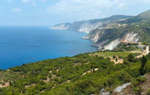 여름 이오니아 바다 해안보기 kefalonia, 그리스, petani 해변 근처