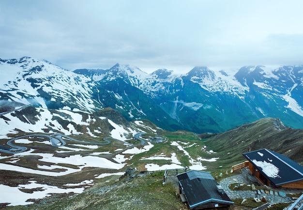 6月夏)グロースグロックナーハイアルパインロードからのアルプス山頂ビュー
