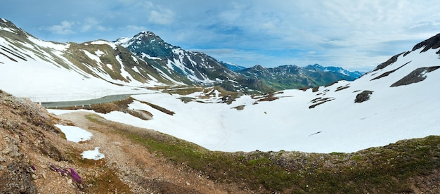 Summer, june alps mountain and winding road, view from grossglockner high alpine road.