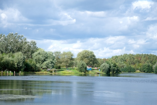青い曇り空緑の木々と地平線上の茂みと夏の湖の風景