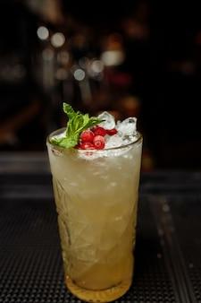 Летний лимонад с клюквой и апельсином, украшенный мятой на барной стойке.