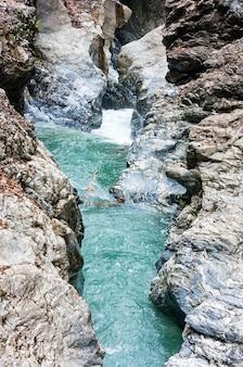 Summer liechtensteinklamm gorge with stream and waterfalls in austria.