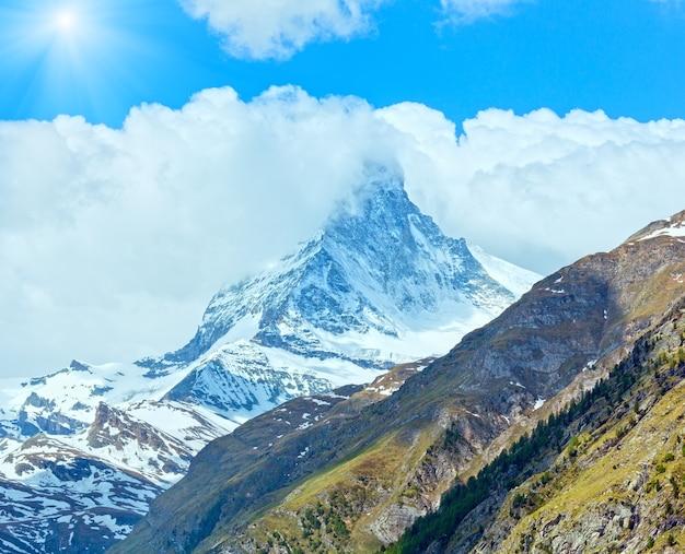 여름 마테호른 산 전망 (알프스, 스위스, 체르마트)