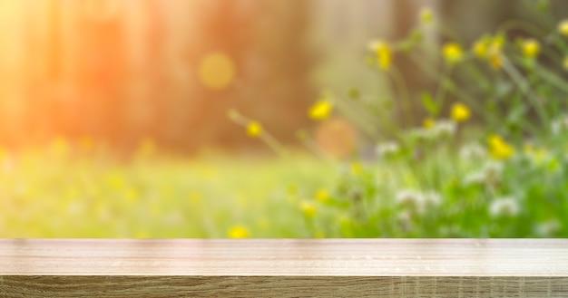 夏の牧草地のテーブルの背景日当たりの良い春のぼやけた牧草地