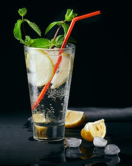 Summer mint lemon alcoholic or non alcoholic refreshment drink cocktail.