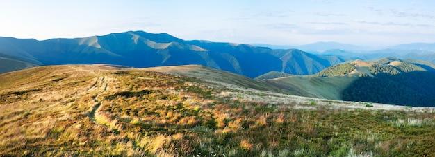 Летний утренний горный пейзаж с зеленым лесом на склоне (украина, карпаты). изображение сшивается тремя кадрами.