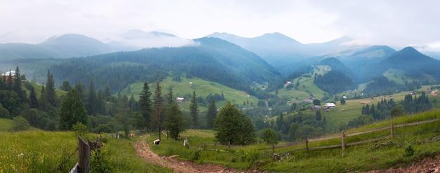 Летний утренний горный пейзаж с сельской дорогой и домом.