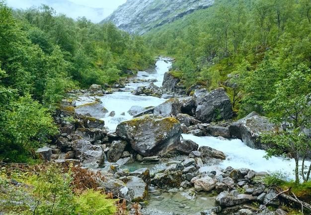 슬로프에 강 여름 산 흐린보기