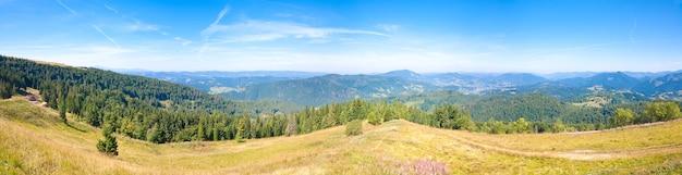 夏の山の国のパノラマ(ウクライナ、カルパティア山脈)。 4ショットステッチ画像。