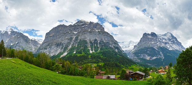 岩の上に雪が降る夏の山岳地帯のパノラマ(スイス)