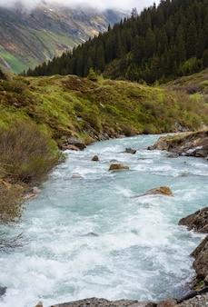 알파인 강 (silvretta 알프스, 오스트리아) 여름 산 풍경.