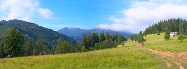 Летний горный пейзаж с сельской дорогой и домом.