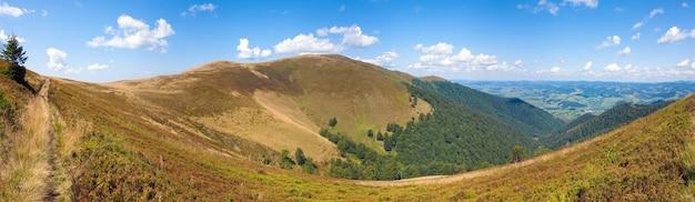 夏の山のパノラマ(ウクライナ、カルパティア山脈)。 4ショットステッチ画像。