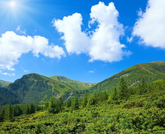 Летний вид на горы с хвойным лесом