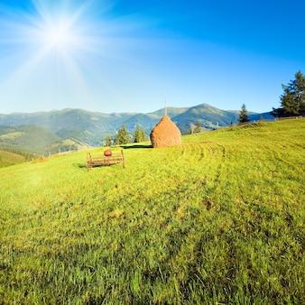 Окраина летней горной деревни с полем, стогом сена и старой косилкой