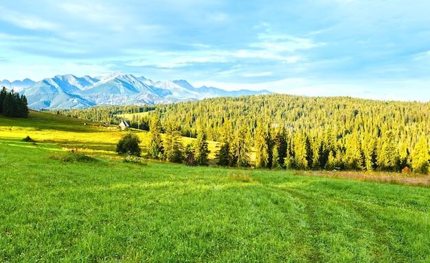 Summer mountain village outskirts and tatra range behind (poland)