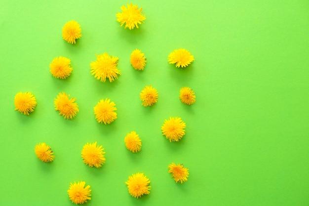 녹색에 노란 민들레 꽃과 여름 또는 봄 배경