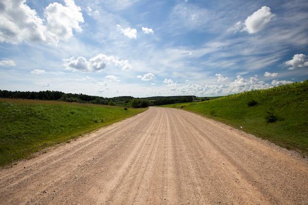 Летний или весенний пейзаж и зеленая растительность и дорога