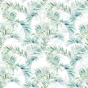 Summer palm tree leaves seamless pattern. watercolor green branches on white background. hand drawn exotic wallpaper design