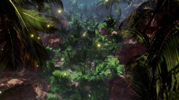 자연 및 광고 장면에서 광고를위한 해변 배경의 여름 야자수