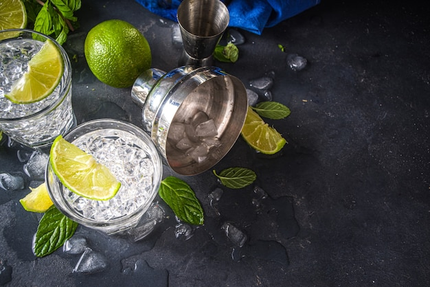 Summer paloma cocktail, vodka lime, mojito or gin tonic with lime wedge and crushed ice in rocks