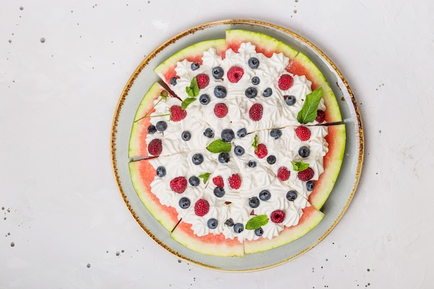 Summer party food - serving watermelon with berries