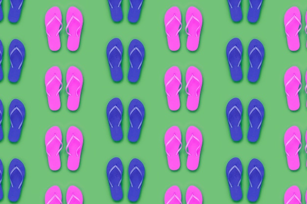 Summer pattern with blue and pink flip flops