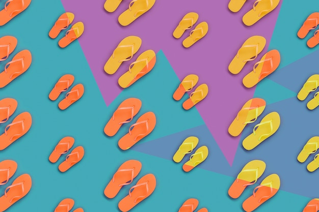 Summer pattern with orange and yellow flip flops