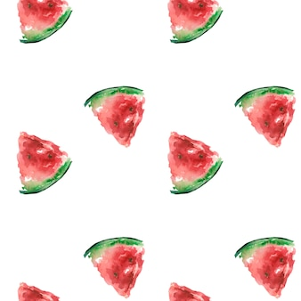 Summer pattern with a slice of red watermelon watercolor