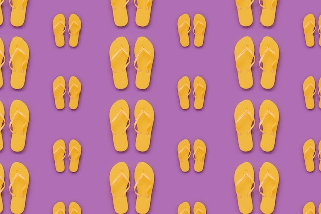 Summer pattern with yellow flip flops