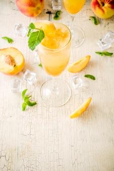 Summer peach bellini cocktail