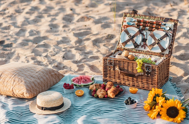 Summer picnic in the beach
