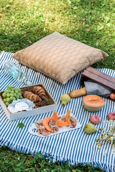 Summer picnic on the grass, jamon with melon, grape, bakery, fruits