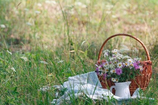 잔디에서 여름 피크닉