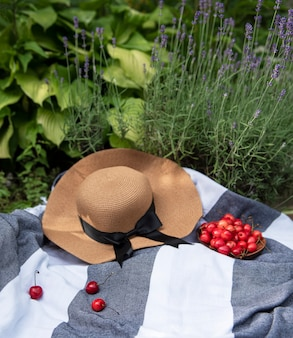 Summer picnic in lavender field. still life summer outdoor picnic with berries and straw hat