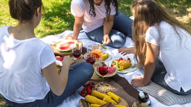 Picnic estivo con gli amici nella natura con cibo e bevande.