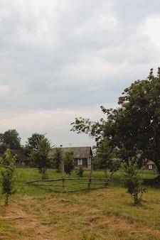 Летний живописный сельский пейзаж с деревянным загородным домом